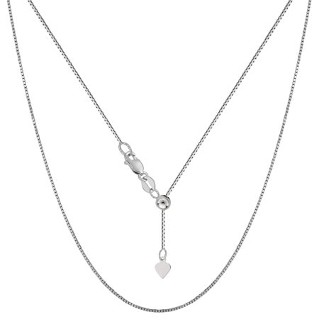 Sterling Silver Rhodium Plated Adjustable Box Chain Necklace, 0.7mm, 22