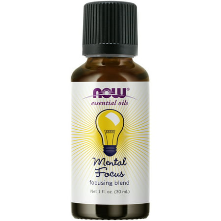 NOW Essential Oils, Mental Focus Oil Blend, Centering Aromatherapy Scent, Blend of Pure Essential Oils, Vegan, Child Resistant Cap, 1-Ounce Oil Blend 180 Caps