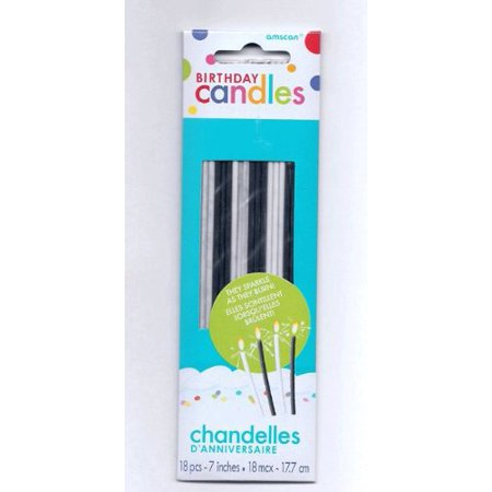 Black And White Sparkle Birthday Cake Candles