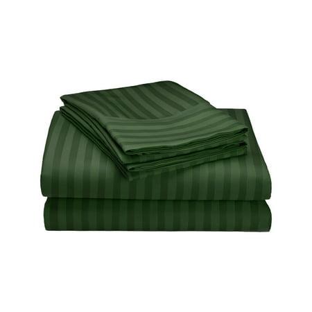 Premium Hotel Quality 3 Pc. Striped Bed Sheet Set - Twin, Hunter Green ()
