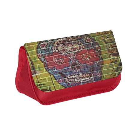 Sugar Skull Brick Wall Art Print -  Red Cosmetic Case - Makeup Bag - with 2 Zippered - Sugar Skull Makeup Guy