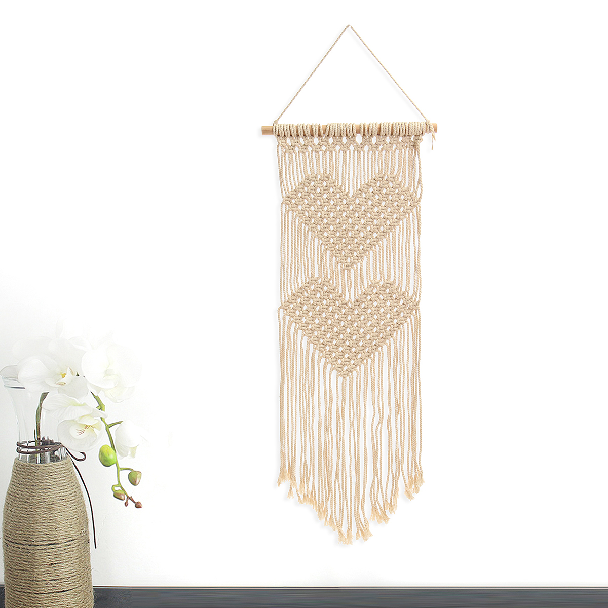 Bohemian Macrame Woven Wall Hanging Two Heart Handmade Tapestry Knitting Art Home Decor Craft Gift by