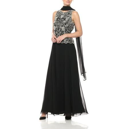 db98e6132c5 J Kara - J Kara Womens Beaded Chiffon Scarf A-Line Gown Dress ...