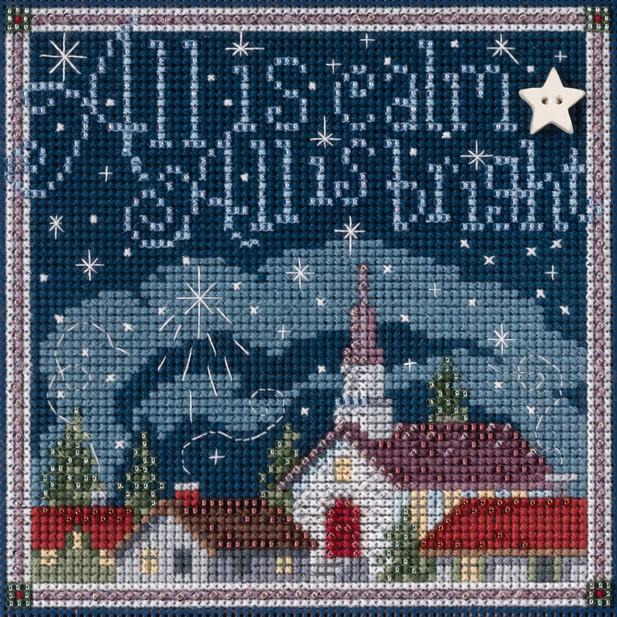 """All Is Calm Winter Buttons & Beads Counted Cross Stitch Kit-5.25""""X5.25"""" 14 Count"""