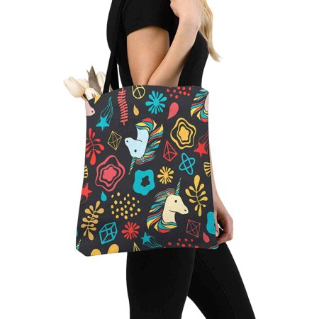 HATIART Unicorns, Pattern Reusable Grocery Bags Shopping Bag Canvas Tote Bag Shoulder Bag - image 3 of 3