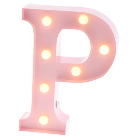 Barnyard Designs Metal Marquee Letter P Light Up Wall Initial Nursery Home And Event Decoration 9 Baby Pink