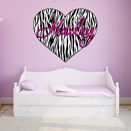 VWAQ Custom Name Zebra Print Heart Decal Personalized Name Zebra Print Wall Art Decor Custom Name GH2