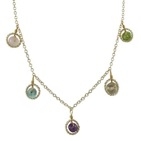Dlux Jewels Brass Multi Colored Stones Necklace with Gold Filled Braided Circle Necklace - image 1 de 1