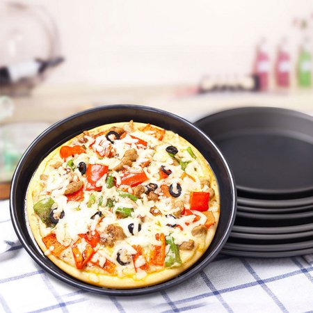 8 Inch/9 Inch Healthy Durable Shallow Pizza Pan Round Dish Non-Stick Pie Tray Kitchen Home Bakeware Carbon Steel 8 inch shallow tray - image 4 of 7