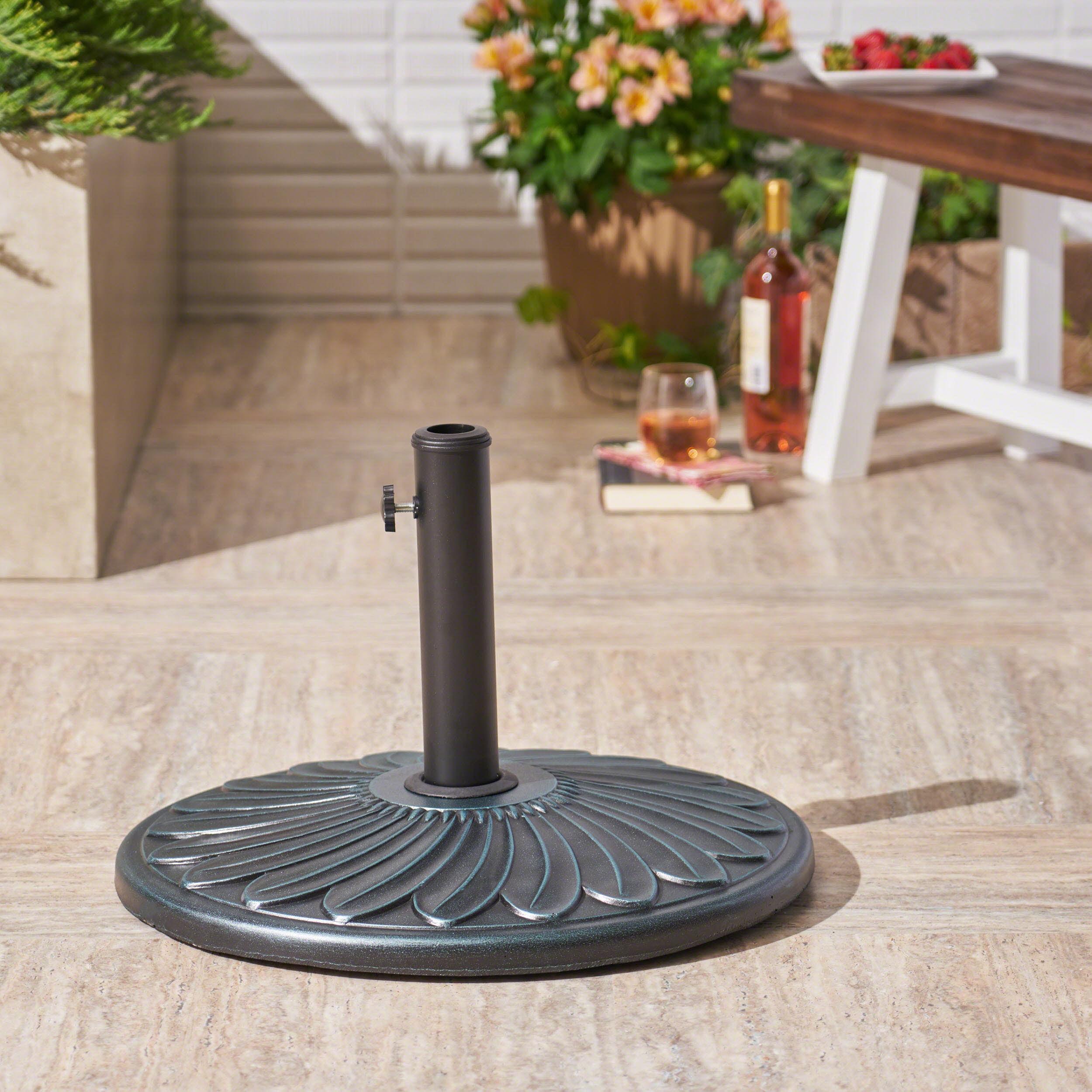 Outdoor 57lb Concrete Circular Umbrella Base, Weathered Bronze