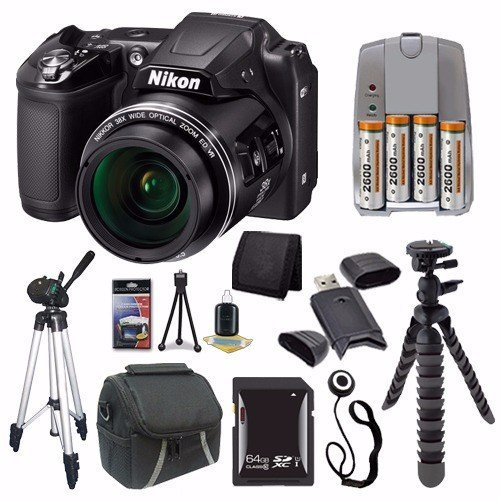 Nikon COOLPIX L840 Digital Camera (Black) (International Model No Warranty) + 4 AA Pack NiMH Rechargeable Batteries and Charger + 64GB SDXC Card + Case + Tripod + Mini Flexible Tripod Saver Bundle