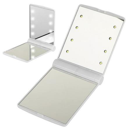 Felt Pocket Mirror (Foldable LED Mirror, Folding Mirror with 8 LED Lights Lamps Pocket Mini LED Make Up Mirror Cosmetic Mirror Folding Portable Compact Pocket)