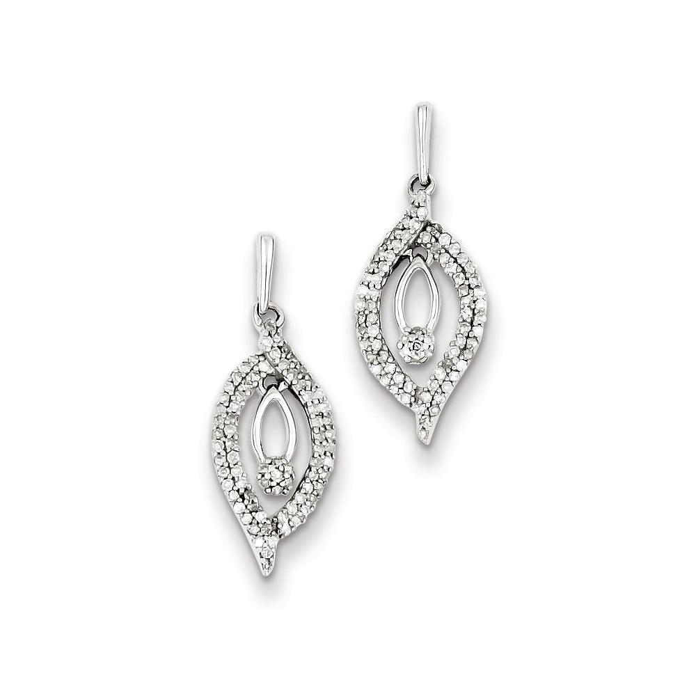 Sterling Silver 0.6IN Long Diamond Post Dangle Earrings