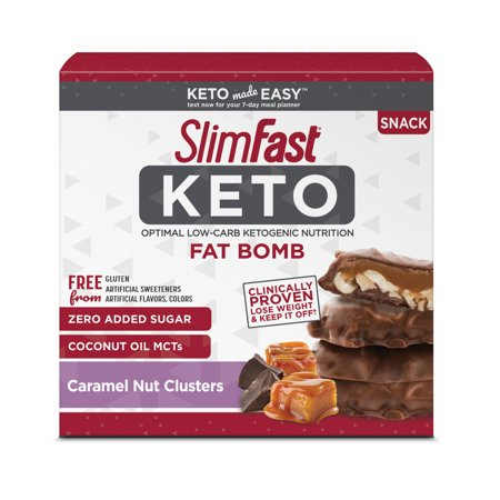 SlimFast Keto Fat Bomb Snacks, Chocolate Caramel Nut Clusters, Pack of 14