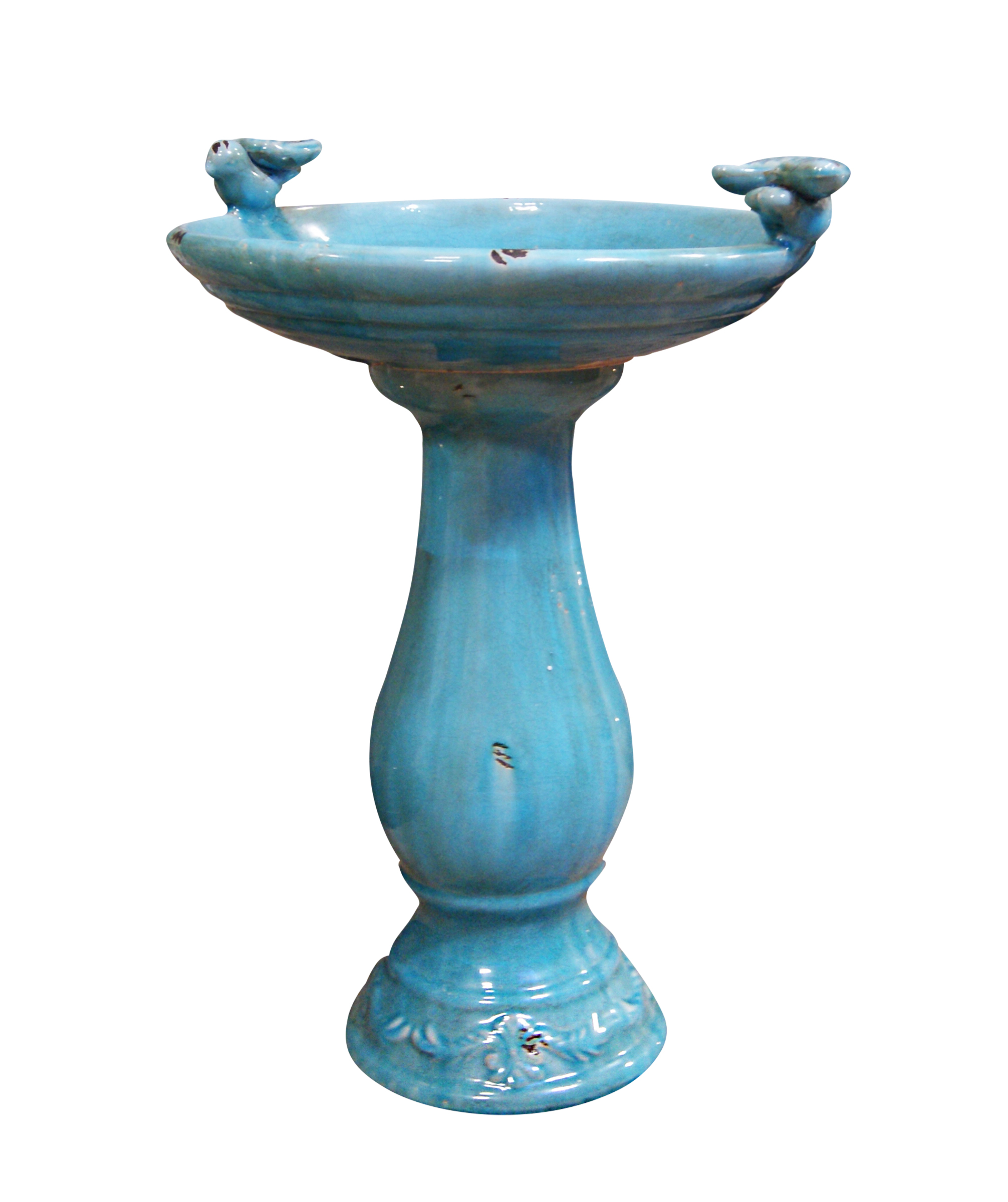 24 Inch Antique Ceramic Birdbath With Birds -Turquoise by Benzara