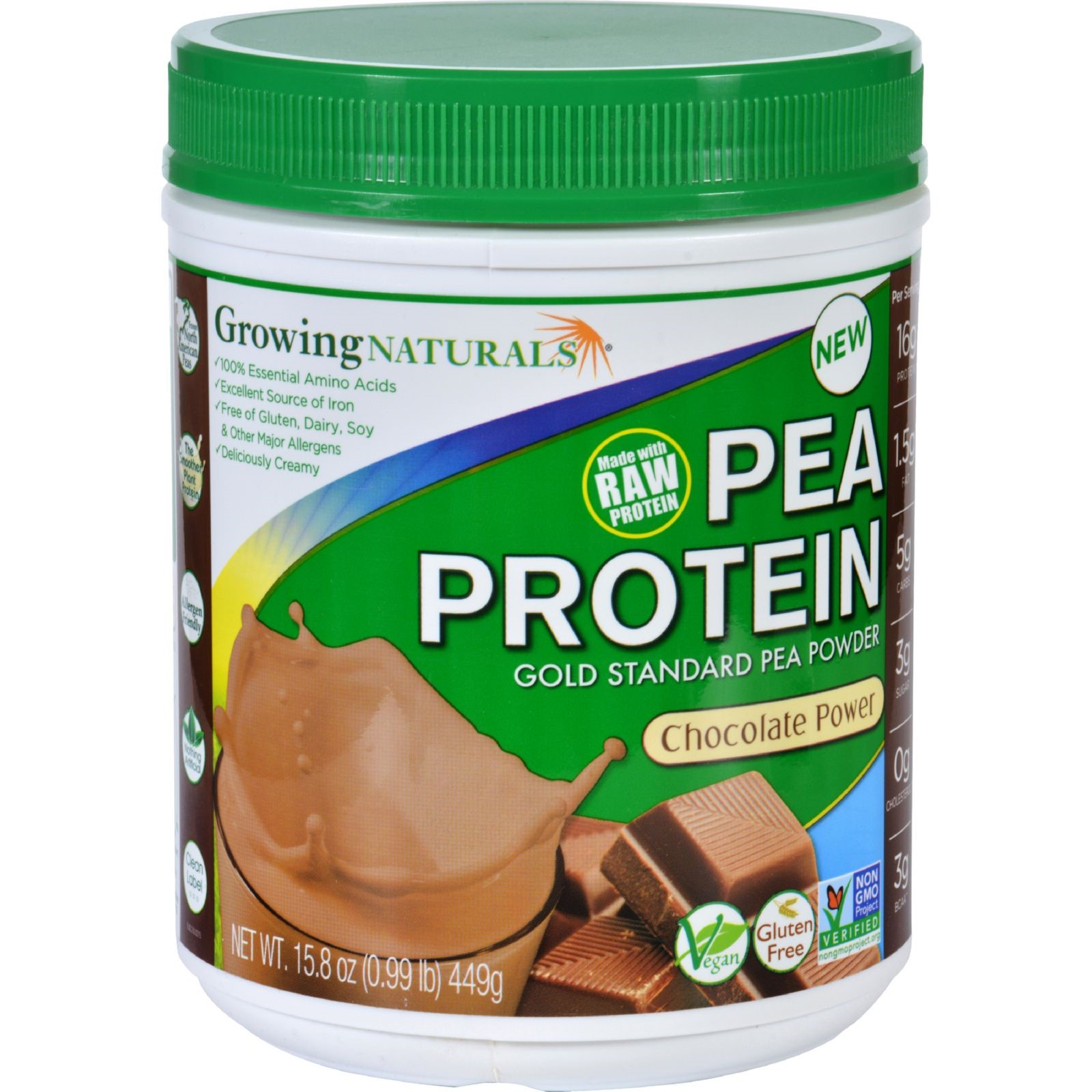 Growing Naturals Pea Protein Chocolate, 1 lb