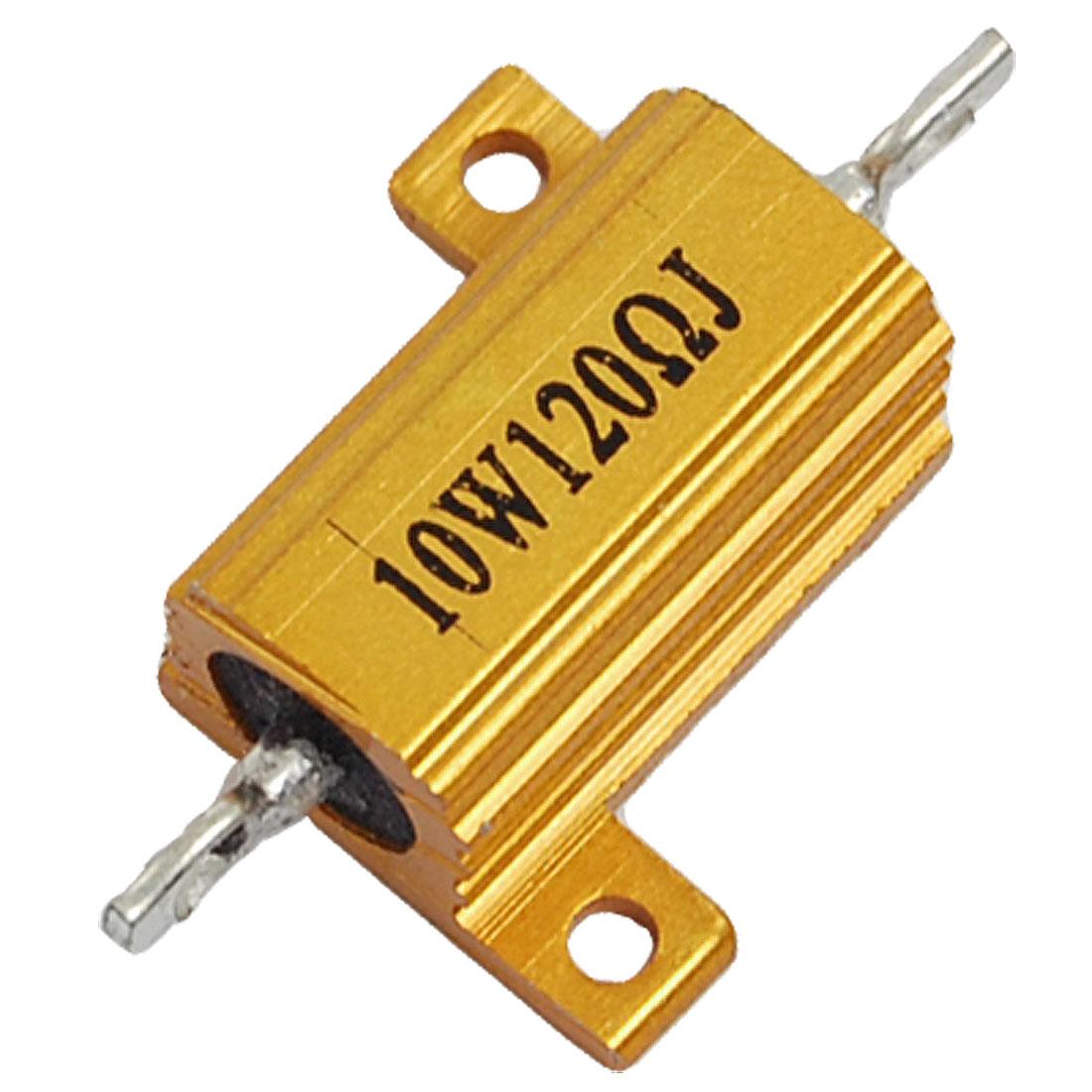 Unique Bargains Screw Tabs Aluminum Sheel Resistor 120 Ohm 5% Gold Tone - image 1 de 1
