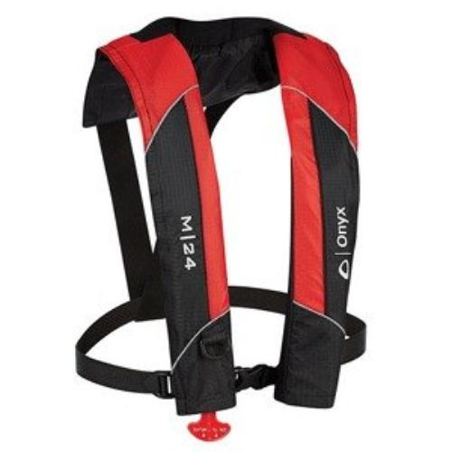 Onyx M-24 - Manual Inflatable Life Jacket [pfd] - For Swimming - For Adult - 22.50 Lb Minimum Buoyancy - Neoprene Neckline - Red (13100010000415)