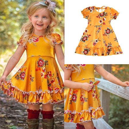 Little Girls Dress Clothing Short Bubble Sleeve Kids Floral Casual Princess Fairy Dress Party Beach Dress for 6M-6Yrs - Fairy Dresses For Children