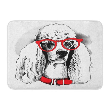 GODPOK Breed Black Accessory Portrait of Dog Poodle in Glasses and Red Collar White Animal Cartoon Rug Doormat Bath Mat 23.6x15.7 - Dogs Poodle Black And White