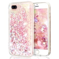 For iPhone 5 iPhone 5s iPhone SE Pink Floating Hearts Liquid Waterfall Sparkle Glitter Quicksand Case