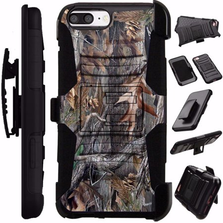 For Apple iPhone 6 Case / Apple iPhone 6s Case Heavy Duty Hybrid Armor Dual Layer Cover Kick Stand Rugged LuxGuard Holster (Camo Tree) (iphone 6 case the giving tree)
