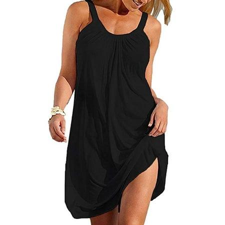 Women's Summer Halter Sleeveless Pleated Beach Short Mini Dresses Cover Ups Black Sleeveless Beach Cover