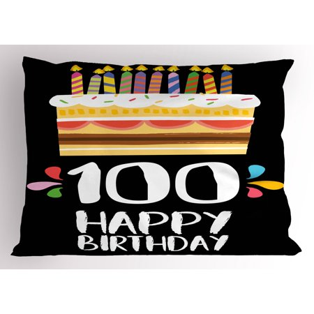 100th Birthday Pillow Sham Old Legacy 100 Party Cake Candles On Black Major Milestone Backdrop
