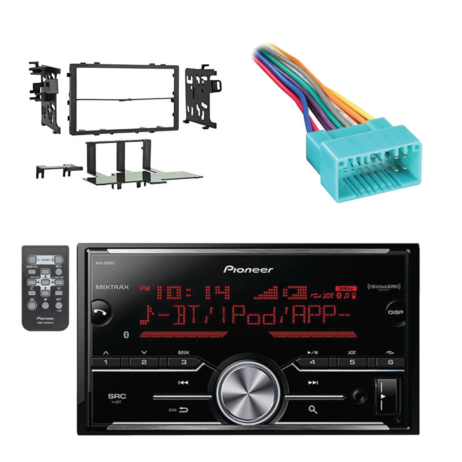 Pioneer Vehicle Digital Media 2DIN Receiver with Bluetooth Enhanced Audio Functions, Black with Metra Double DIN Installation Kit and Metra Wiring Harness for 1998-2005 Acura/Suzuki/Honda Vehicles