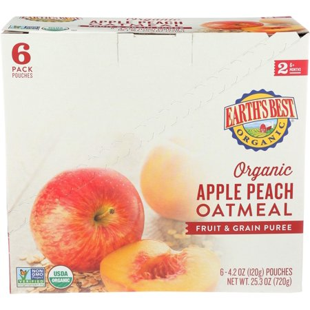 (6 Pack) Earths Best Organic Stage 2, Apple Peach and Oatmeal Baby Food, 4.2 oz. Pouch