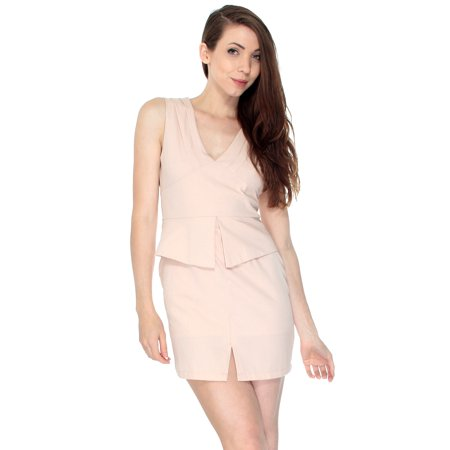Women Summer Sleeveless Dress Business Attire Casual Skirt, Blush - Ladies Business Attire