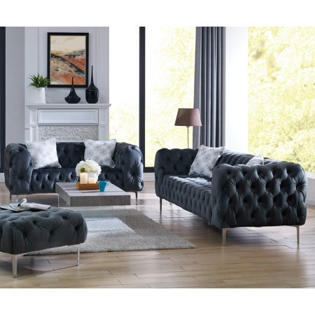 Sofa And Loveseat Velvet Fabric Gray Cushion Couch Comfort Plush Tufted 2pc Sofa Set Living Room Furniture ()