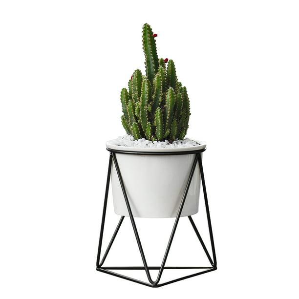 Iron Pot Shelf Stand Garden Decor* Modern Ceramic Succulent Flower Planter Pot