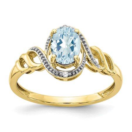 Roy Rose Jewelry 10K Yellow Gold Aquamarine Diamond Ring - Size: 7