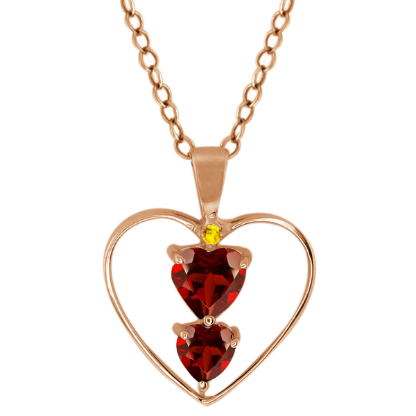 0.89 Ct Heart Shape Red Garnet Rose Gold Plated Sterling Silver Pendant