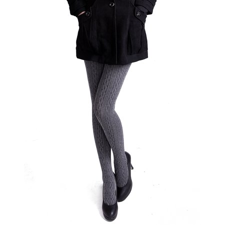 Cable Womens Tights - HDE Women's Winter Stockings Cable Knit Footed Tights (Gray)