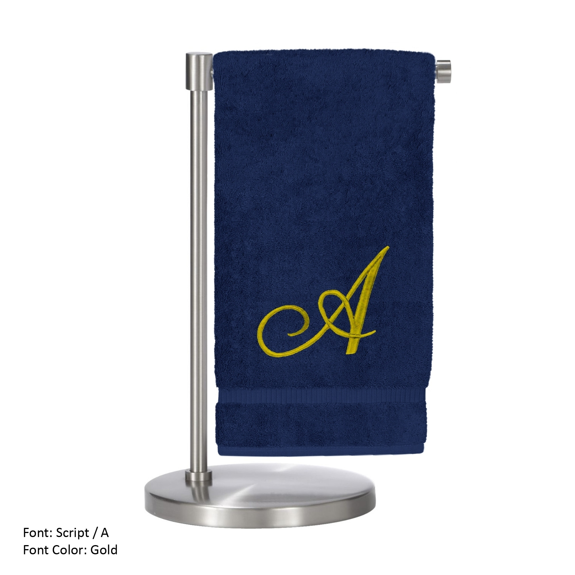 Monogrammed Bath Towel, Personalized Gift, 27 x 54 Inches - Set of 2 - Gold Script Embroidered Towel - 100% Turkish Cotton - Soft Terry Finish - For Bathroom, or Spa - Script A Navy Towels