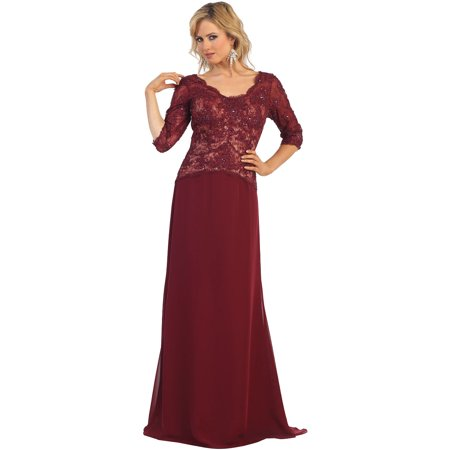 3/4 SLEEVE MOTHER OF THE BRIDE EVENING GOWN