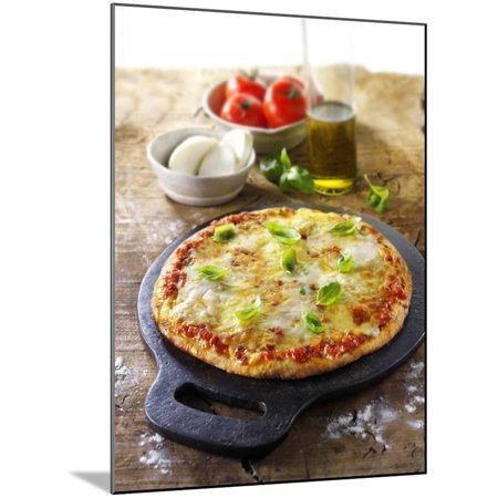 Tomato and Mozzarella Pizza with Basil Wood Mounted Print Wall Art By Paul - Tomato Mozzarella Pizza