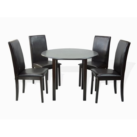 Dining Kitchen Set of 5 Piece Round Table and 4 Classic Solid Wood Fallabela Chairs, Espresso