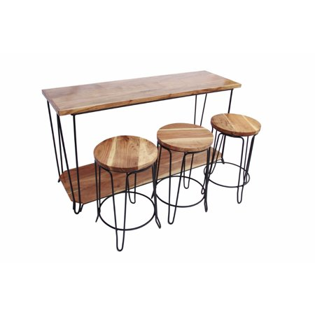 Long Bar Table - The Urban Port 4 Piece Bar Dining Set/ Rectangular Table With 3 Round Stools, Brown And Black