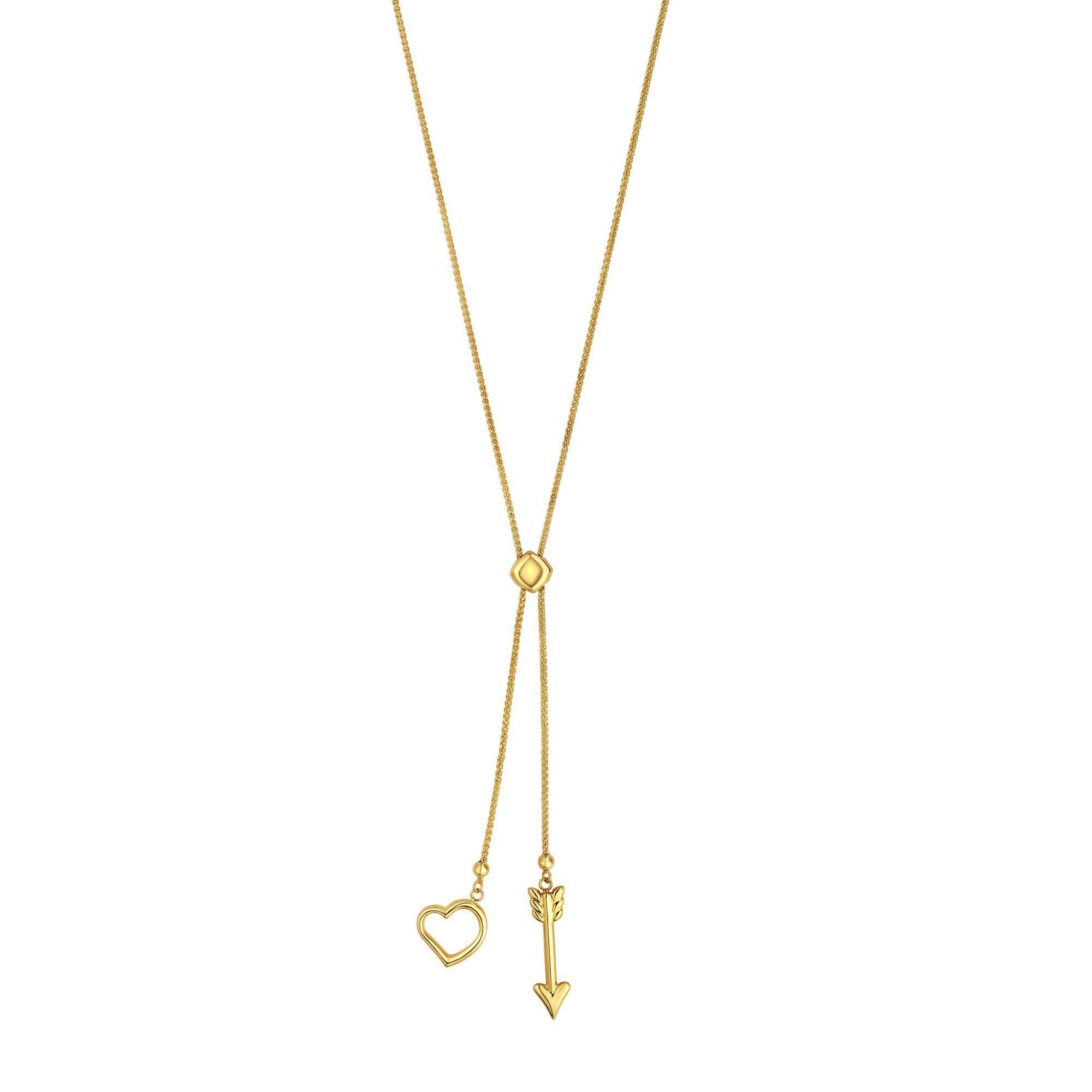 """14k Yellow Gold Heart And Arrow Charm Long Necklace, 28"""" - image 1 of 1"""