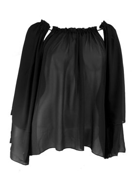 22a13abc53f592 Product Image women s chiffon tunic top with adjustable cut out neckline.  Elan