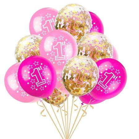 "BEAD BEE 15pcs 12"" Foil Latex Confetti Balloon Baby One Year Old Happy Birthday Party"