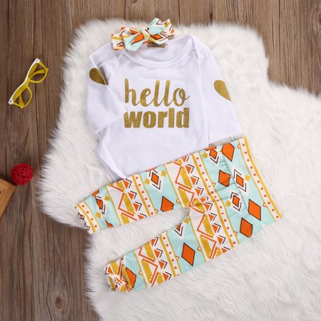 7533b59eb9f Emmababy - Newborn Baby Girls Top Rompers+Floral Pants Leggings Headband  3pcs Outfits Set - Walmart.com