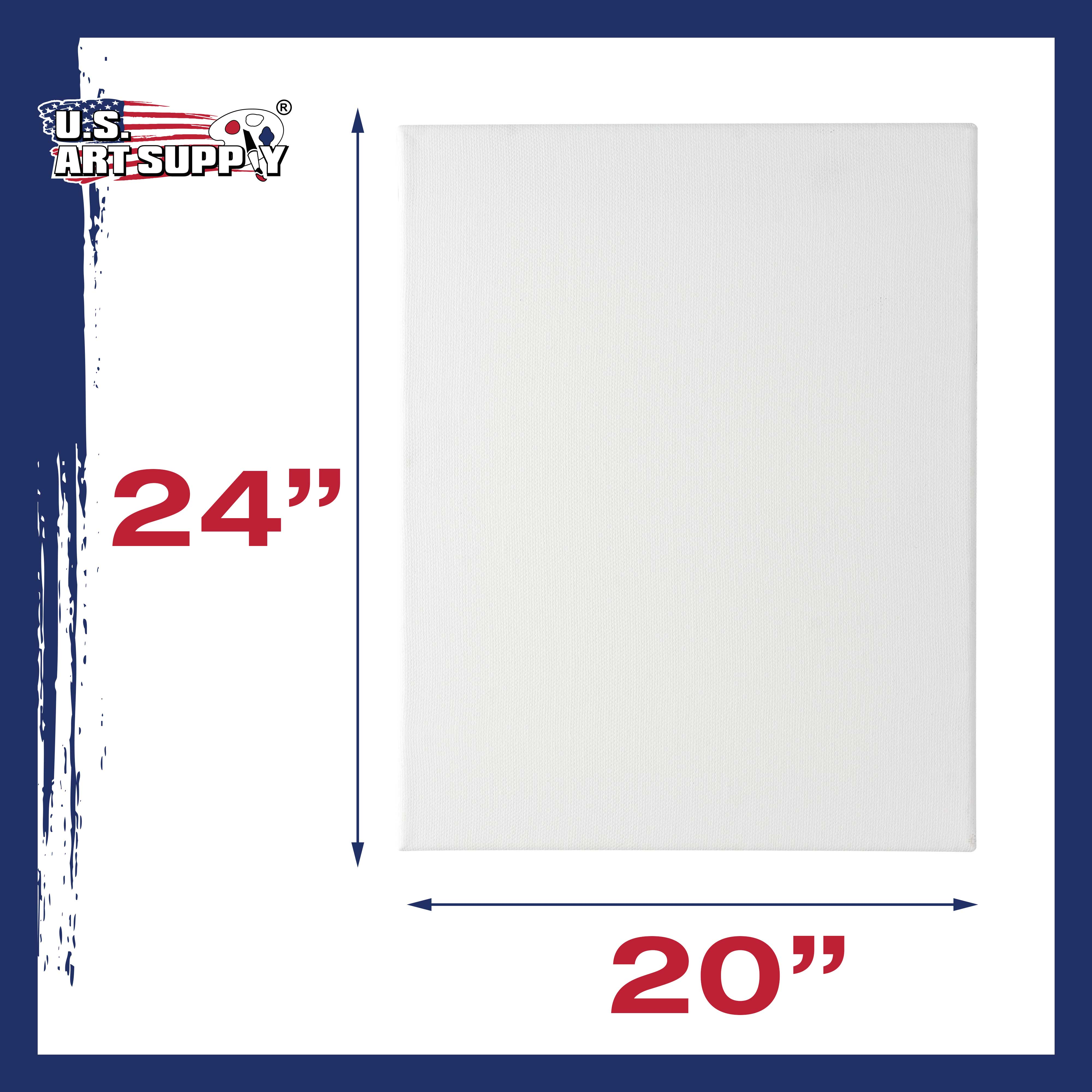 """6 Pack of US Art Supply 24/"""" x 24/"""" Acrylic Primed Cotton Duck Stretched Canvas"""