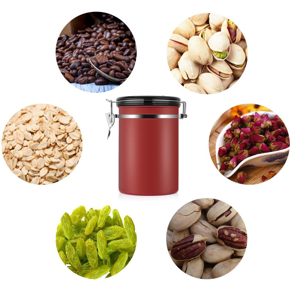Qiilu Large Airtight Sealed Coffee Container 22 OZ Stainless Steel Kitchen Sotrage Canister for Coffee, Gounds,Nuts,Sugar Keep