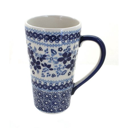 Polish Pottery Vintage Blue Daisy Large Coffee