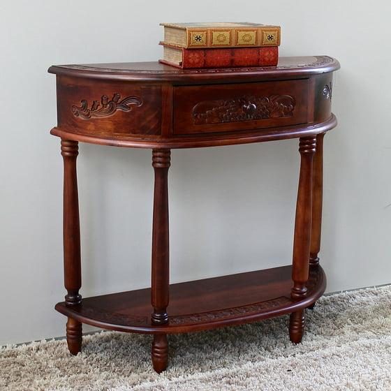 international caravan half moon hall console table. Black Bedroom Furniture Sets. Home Design Ideas