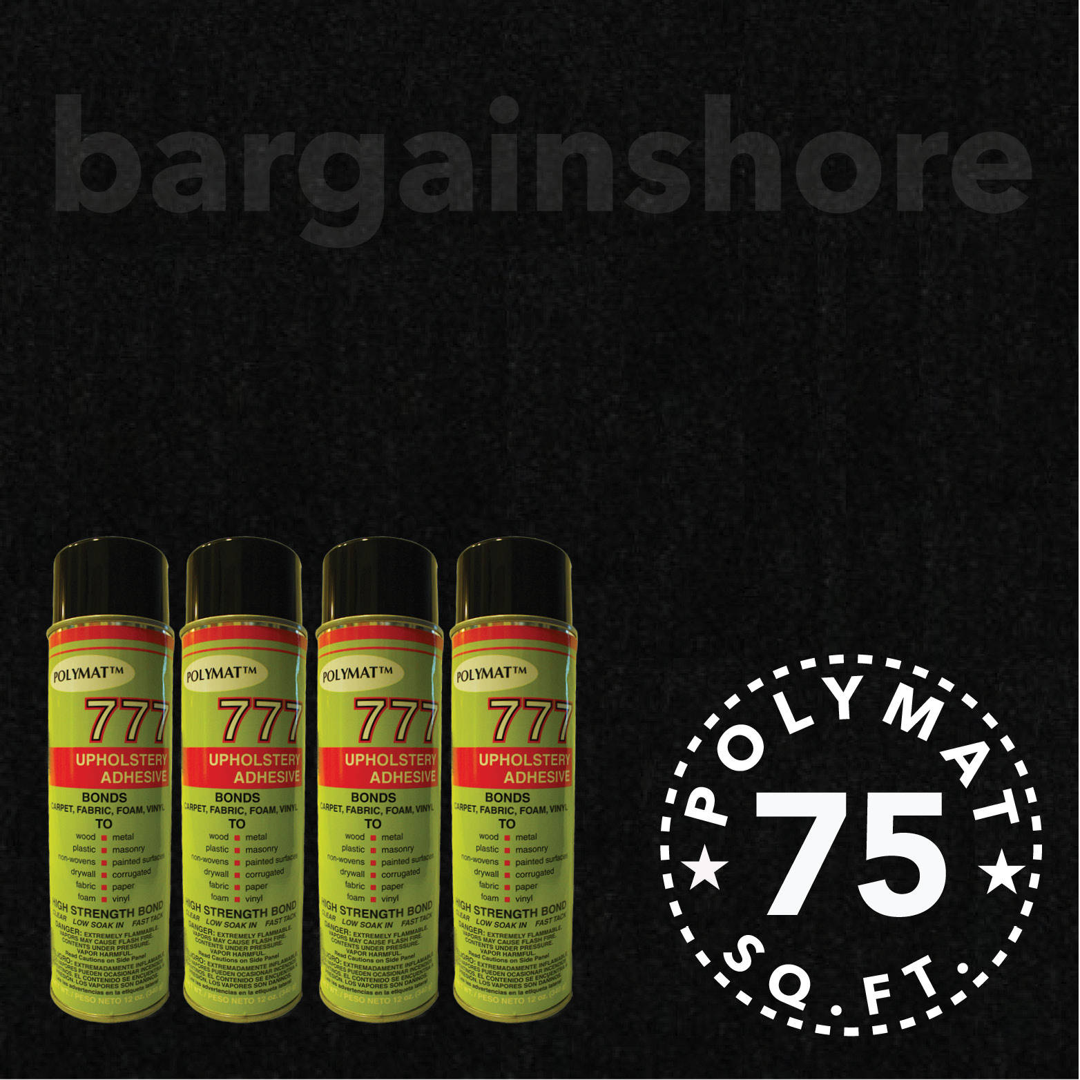 20ft x 3.75ft + 4 (777) GLUE ADHESIVE CANS BLACK FOR STOR...